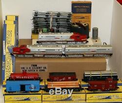 AC Gilbert American Flyer S Gauge Santa Fe Diesel Freight Train Set withwarranty