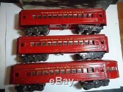 AMERICAN FLYER O GAUGE Pre War 3 Passenger cars (2)1621 (1)1622 RED 6 wheel trks