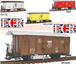 A PAIR yes 2 G SCALE 45mm GAUGE RAILWAY BOX CAR BROWN CARGO BOXCAR GARDEN TRAIN