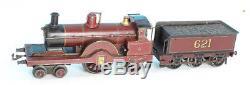 BING clock work loco MIDLAND SINGLE, gauge 0, 4-2-2, with 6 wheel tender
