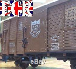 FOUR yes 4 G SCALE 45mm GAUGE RAILWAY BOX CAR BROWN CARGO BOXCAR GARDEN TRAIN