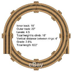 HO Gauge Double Track Helix For 18 and 22 Tracks