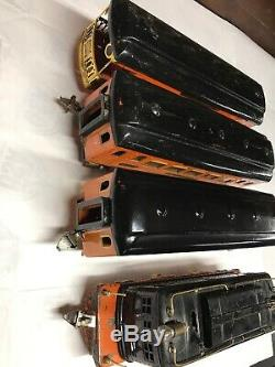 Ives 3236 Standard Gauge 184 185 186 Passenger Cars Black and Orange