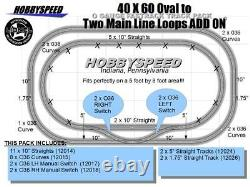 LIONEL FASTRACK 40x60 OVAL TO A 2 MAIN LINE LOOP TRACK PACK ADD ON O GAUGE NEW