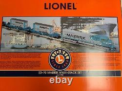 Lionel Maersk Sealand Sd70 Maxi Double Stack Train Set! 6-21950 O Gauge Twin