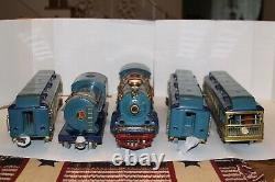 Lionel Prewar Standard Gauge Blue Comet 400E and matching cars with boxes