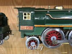 Lionel Standard Gauge 390E Loco with 390T Tender Dark Green with Orange Stripe EX