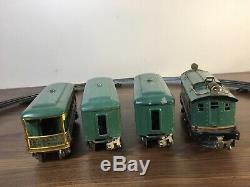Lionel prewar O gauge 296 Peacock passenger set with 253 Loco, 607x2, 608 Observ