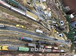N-GAUGE TWO-TIER, 3 TRACKs For TRAINS, 96 x 48 LAYOUT Tunnel, City, SEE Detail
