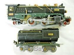 Prewar Lionel 260E O Gauge Steam Locomotive & 260T Tender Green Frame No Chugger