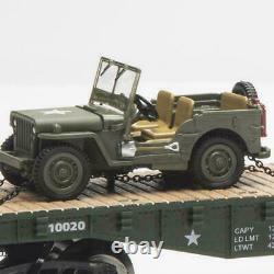 US MILITARY FLATCAR With 2 U. S ARMY JEEPS O GAUGE LIONEL MTH NEW