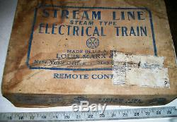 Vintage 1940s Complete O-27 Gauge Metal Electric Steam Freight Train Set with OB