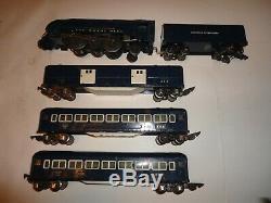 Vintage American Flyer O Gauge 556 Royal Blue Train Set Tender & Three Cars