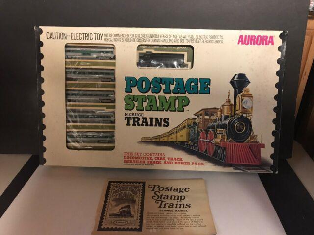 Vintage Aurora Postage Stamp N-gauge Train Set No. 4725 Complete In Box. Nice