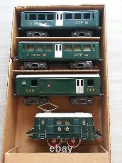 Vintage HAG (Swiss) O Gauge Train Set Electric Locomotive, Pass, Baggage, SBB, CFF