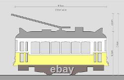 Yellow Lisbon Tram HO/N gauge (HOe) motorized with light NEW
